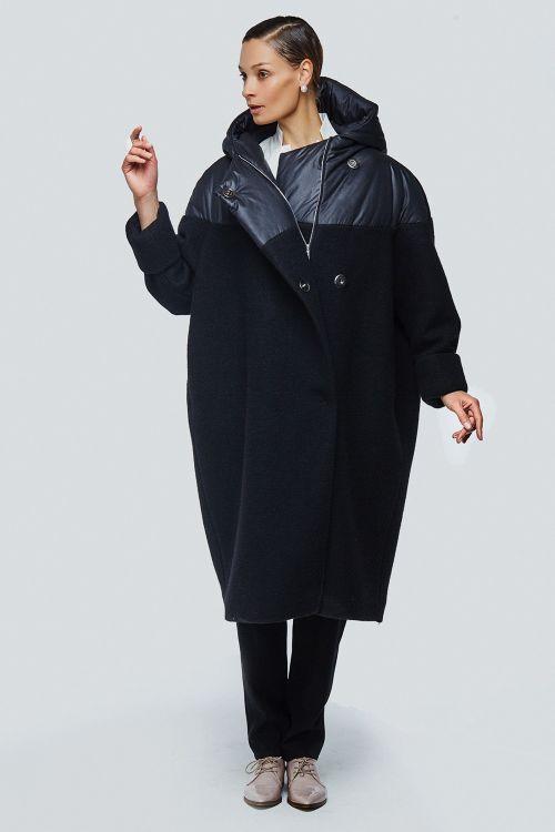 Пальто летучая мышь комбинированная шерсть