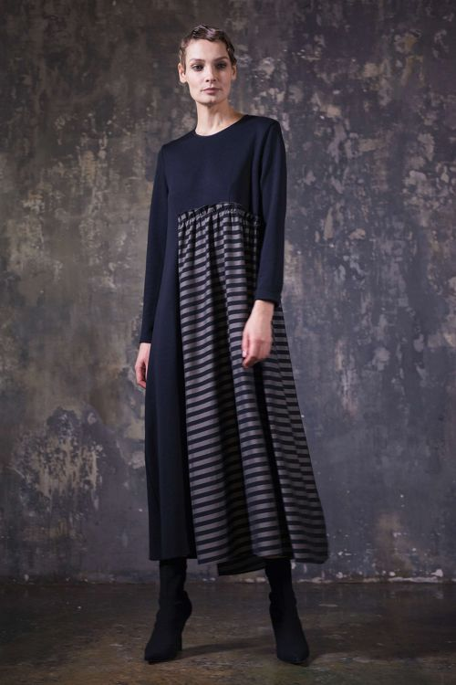 Платье длинное комбинированное, полоска