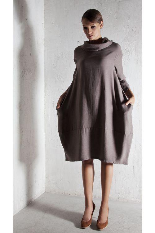 Платье Кимоно-лодочка, Мокко-меланж