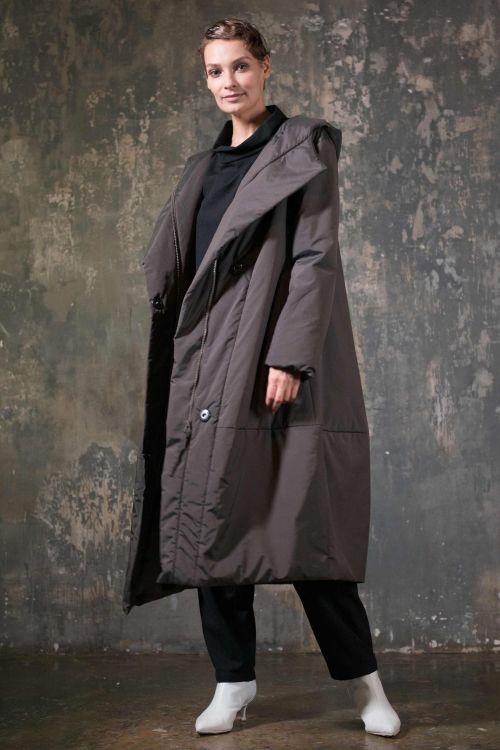 Пальто Ромб с капюшоном, с утеплителем