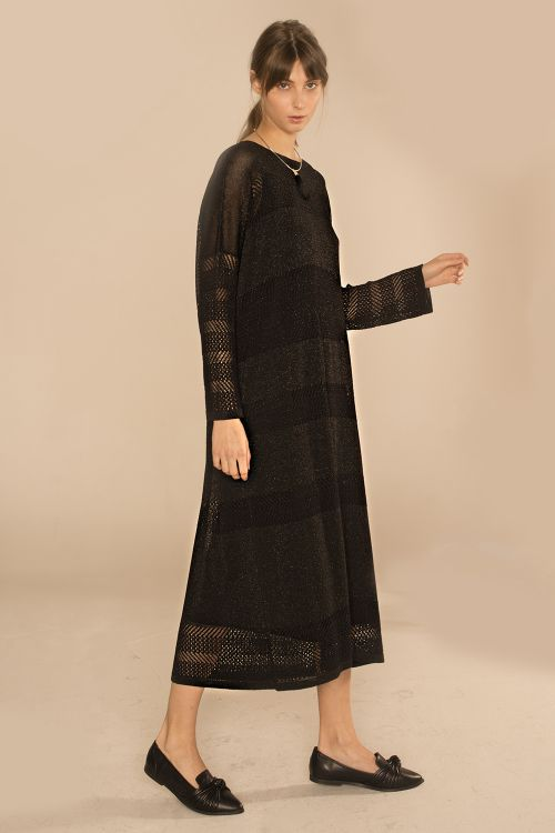 Платье с люрексом, черное