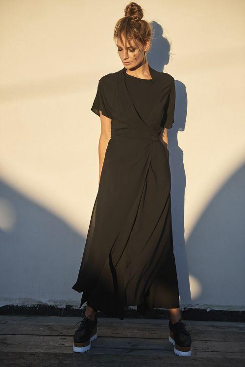 Туника-накидка с завязками, черная