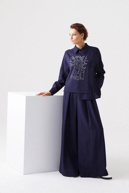 Блуза Асимметричная, с вышивкой