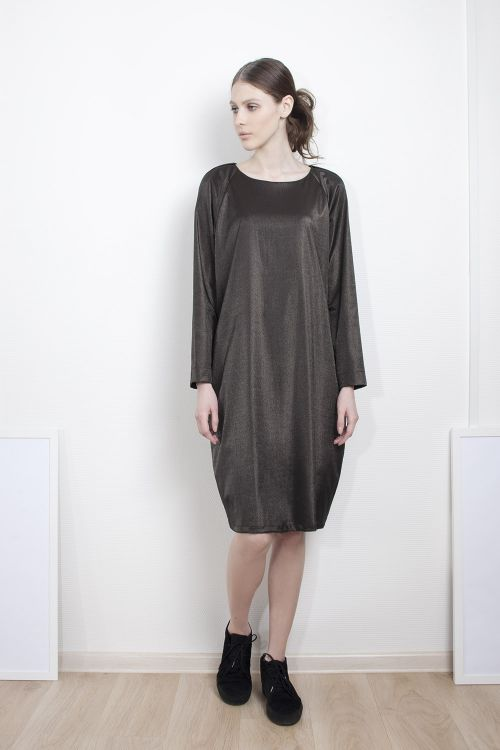 Платье Кокон-реглан серебро
