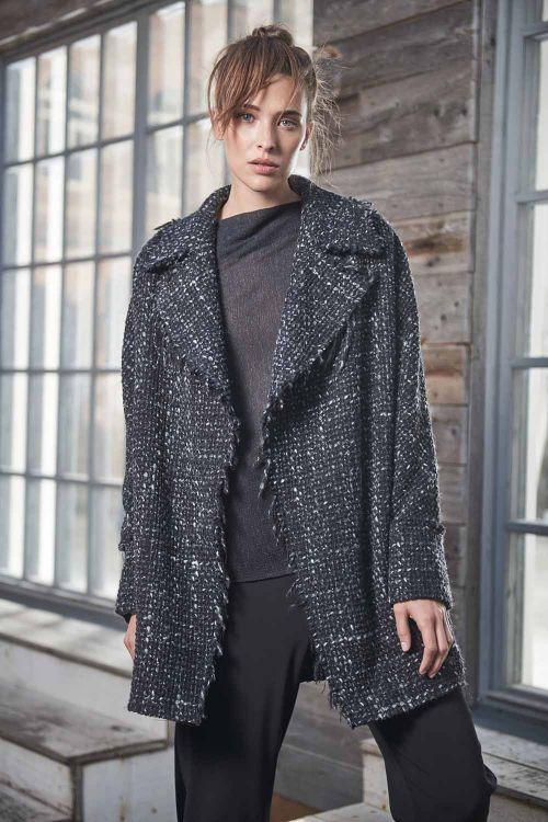Куртка Овал с лацканами на подкладке, необработанный край