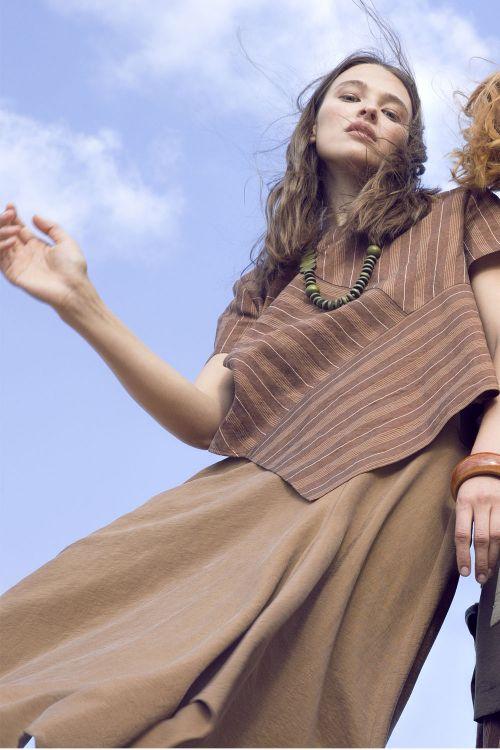 Блуза Диагонали, лён-полосы
