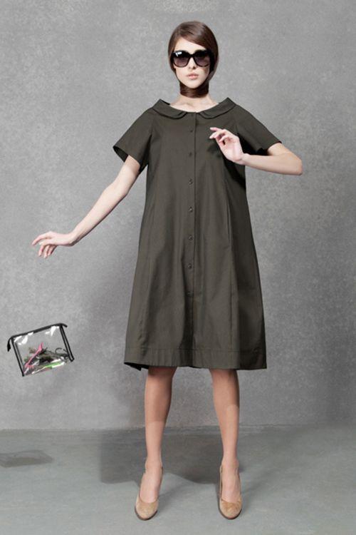 Платье Трапеция на пуговицах
