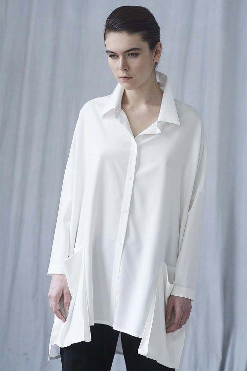 Блуза кимоно Квадрат с накладными карманами