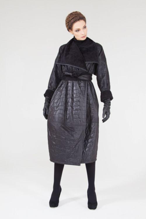 Пальто Кимоно-объем, стеганое, с мехом