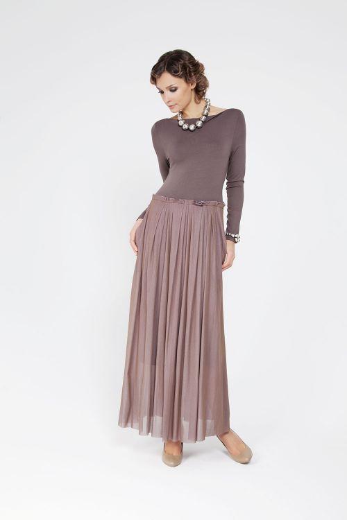 Платье с сеткой длинный рукав