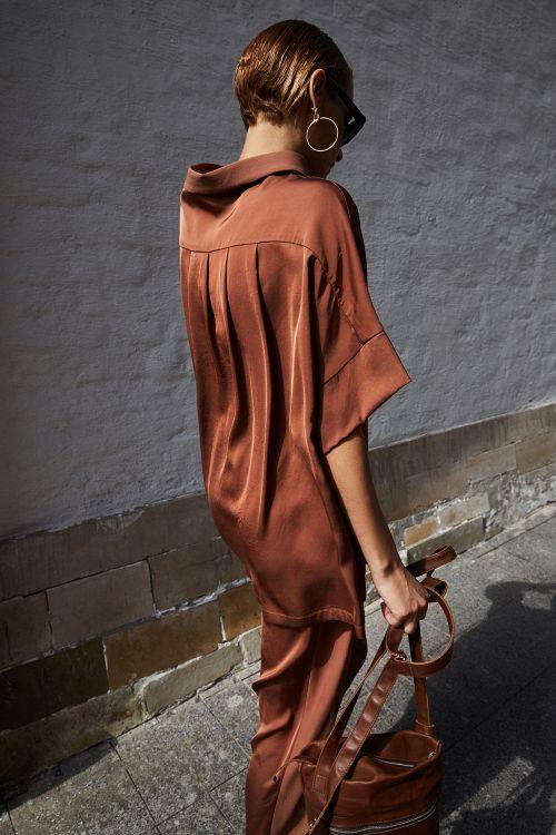 Блуза «Атласная с кокеткой»