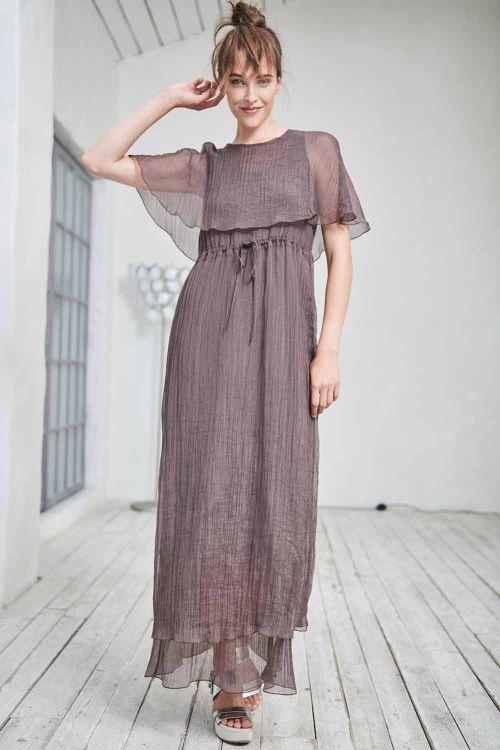 Платье с пелериной длинное, жатка-вуаль