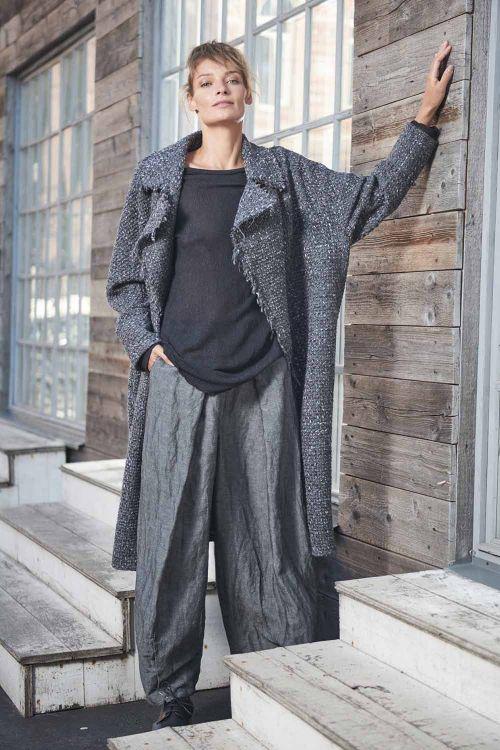 Пальто Овал с лацканами на подкладке, необработанный край
