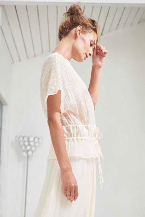 Блуза с кулисами короткая, жатка-вуаль