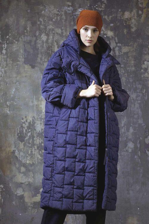 Пальто длинное с капюшоном, меланж