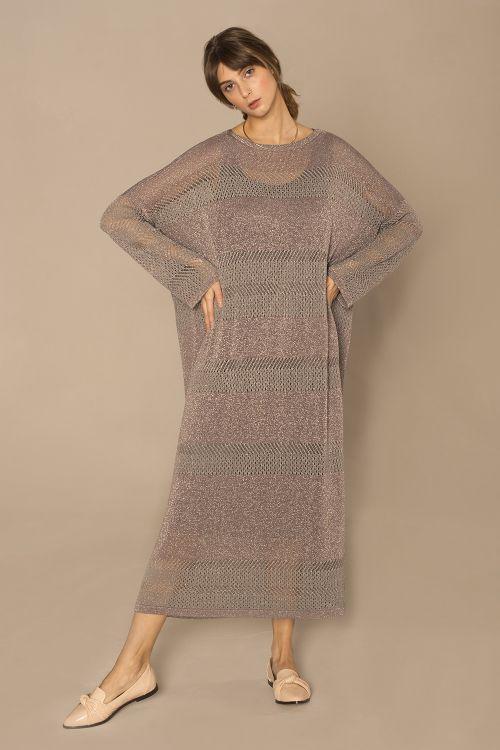 Платье с люрексом, серое