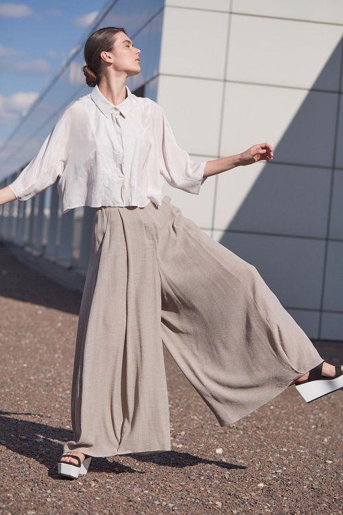 Блуза КОМБИ с воротником короткая шёлк