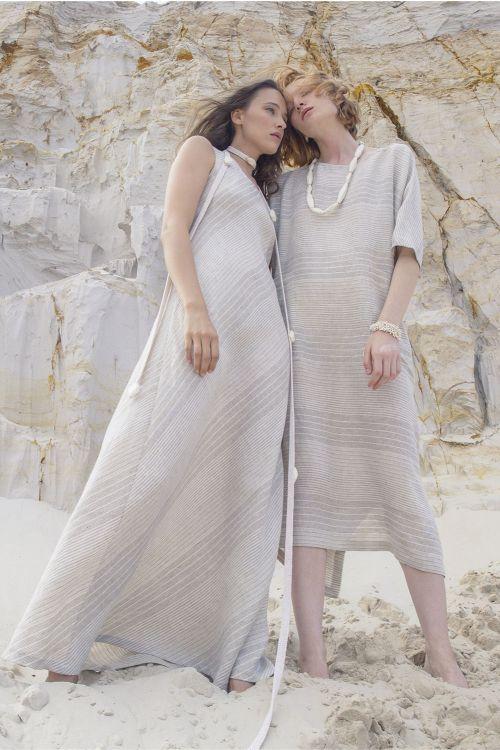 Платье туника , лён-полосы