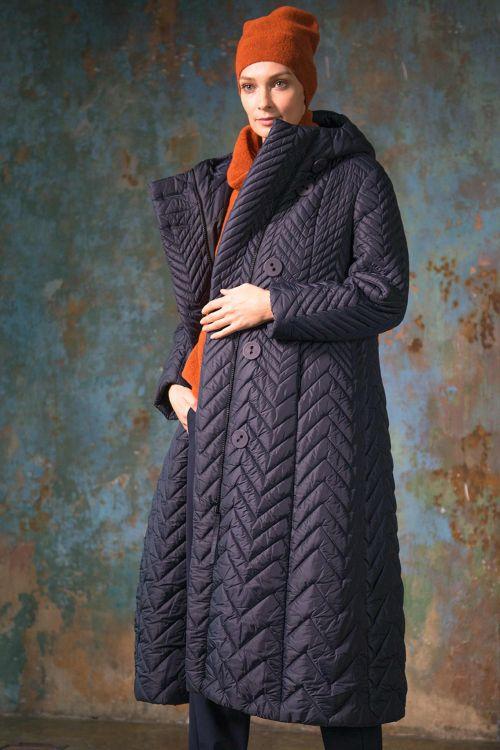 Пальто длинное с капюшоном, зигзаги-бордюр
