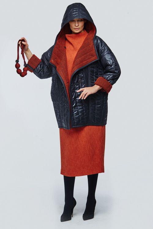 Куртка с капюшоном стёганая с шерстью