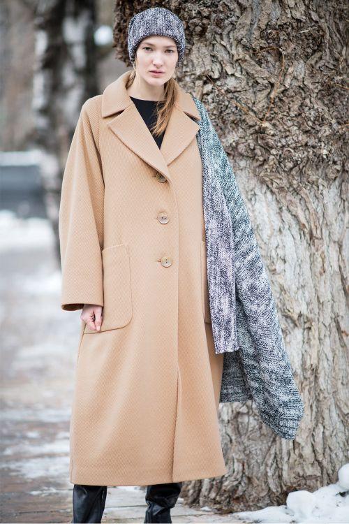 Пальто широкое, с лацканами, Рубчик, на подкладке.