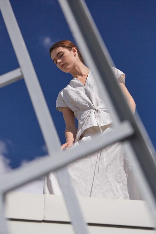Блуза с завязками длинная жатка
