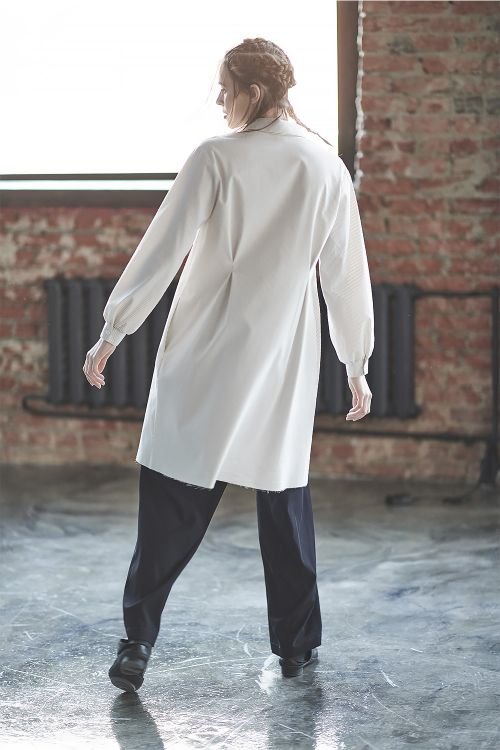 Блуза Ампир с защипами длинная, полоски