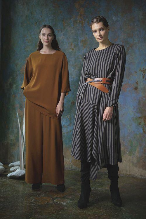 Платье среднее Асимметрия, полоска