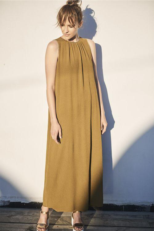 Платье длинное, гофре бронза