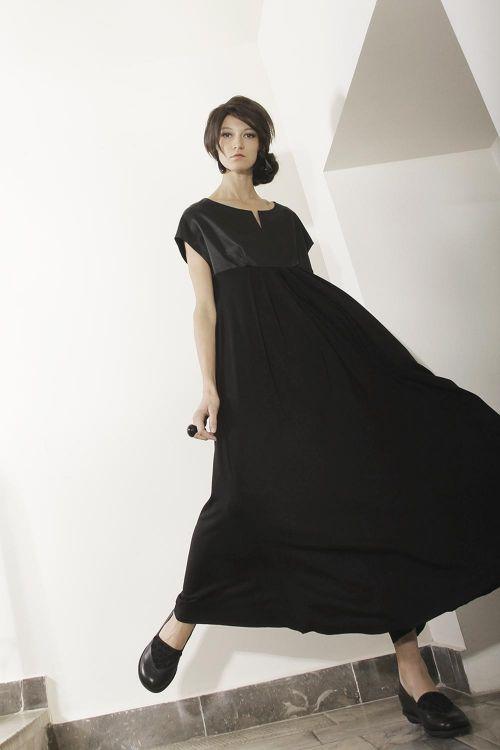 Платье комбинированное атлас и вискозный трикотаж