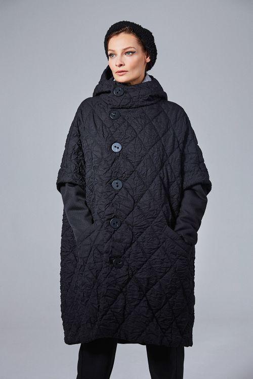 Пальто Пончо-крэш с капюшоном