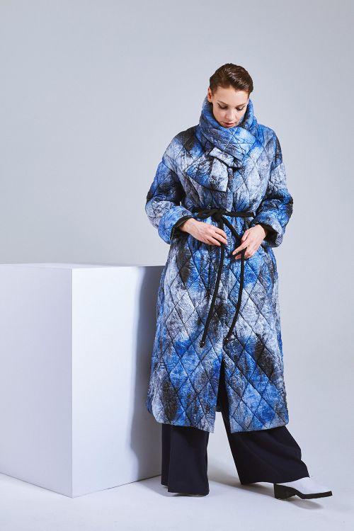 Пальто Принт жатка, с шарфом