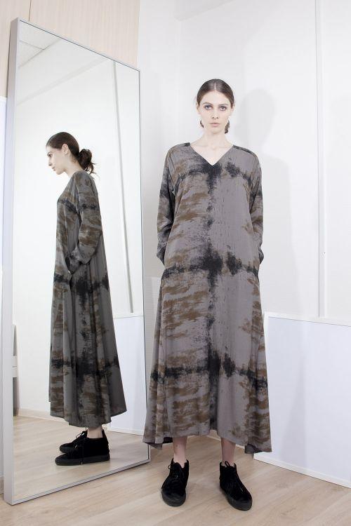 Платье клеш с рисунком Дым