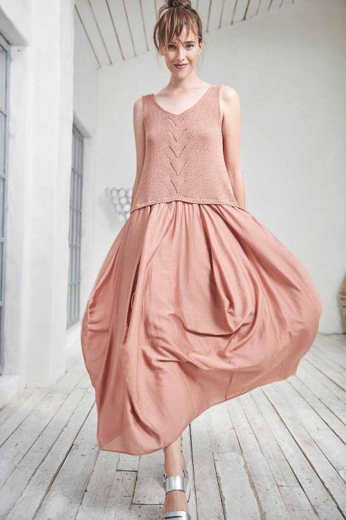 Платье комбинированное с трикотажем