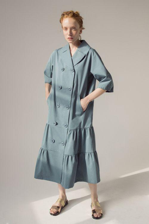 Платье двубортное Ярусы, среднее