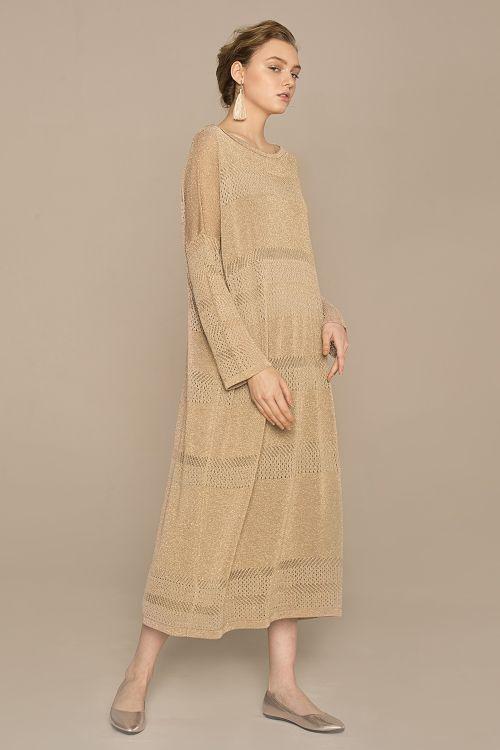 Платье с люрексом, бежевый камень