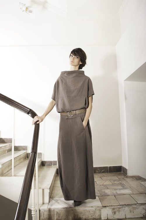 Свободная блуза-кимоно из льняной ткани