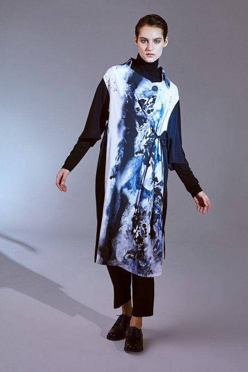 Платье Рубашка, чернильный принт
