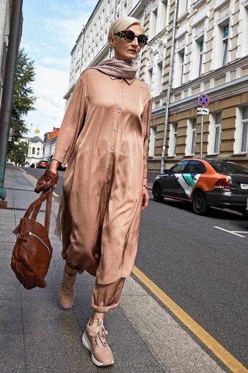 Платье «Рубашка атласная, с поясом»