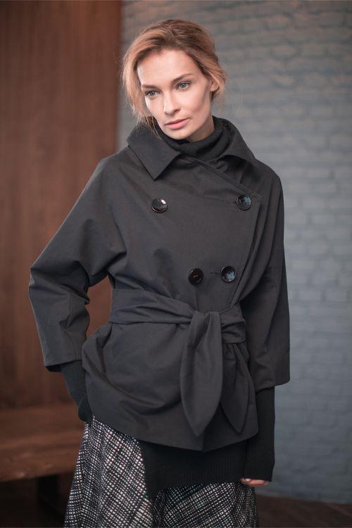 Куртка тренч с поясом, короткий