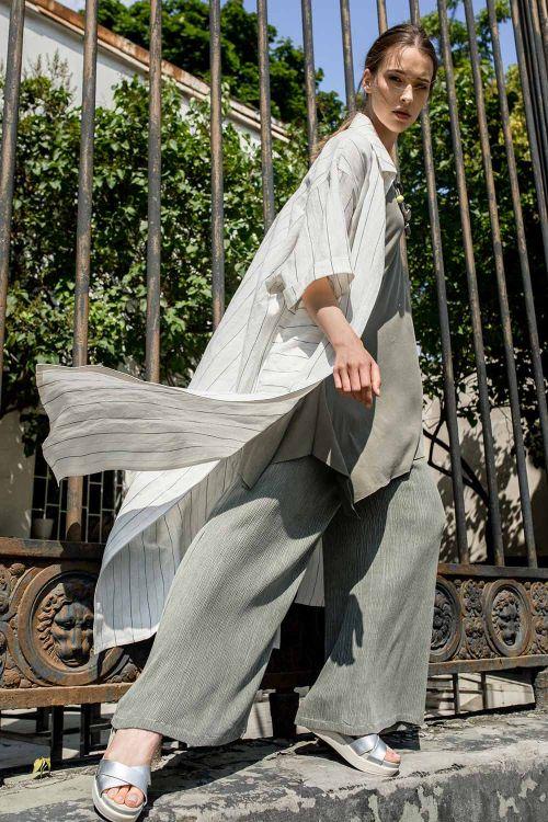 Блуза длинная Полосы, лён
