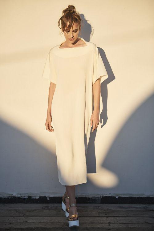Платье Лодочка, гофре кварц