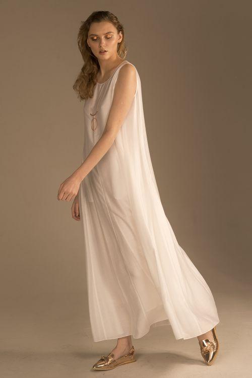 Платье клёш без рукавов, шёлк белое