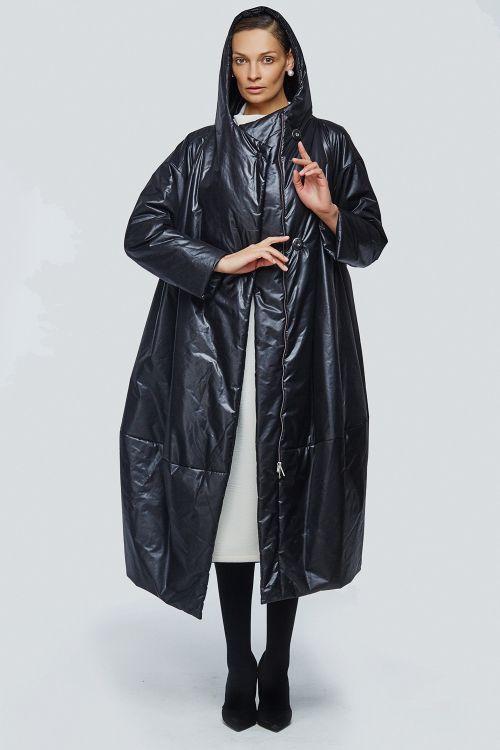 Пальто кимоно-ромб с капюшоном на синтепоне