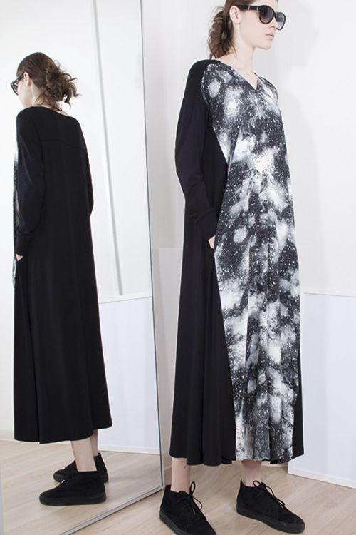 Платье-клеш Млечный путь с трикотажем