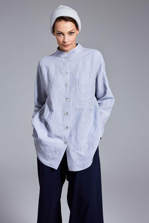 Блуза с кокеткой, вискоза-лён