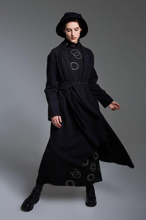 Платье Круги, длинное клёш