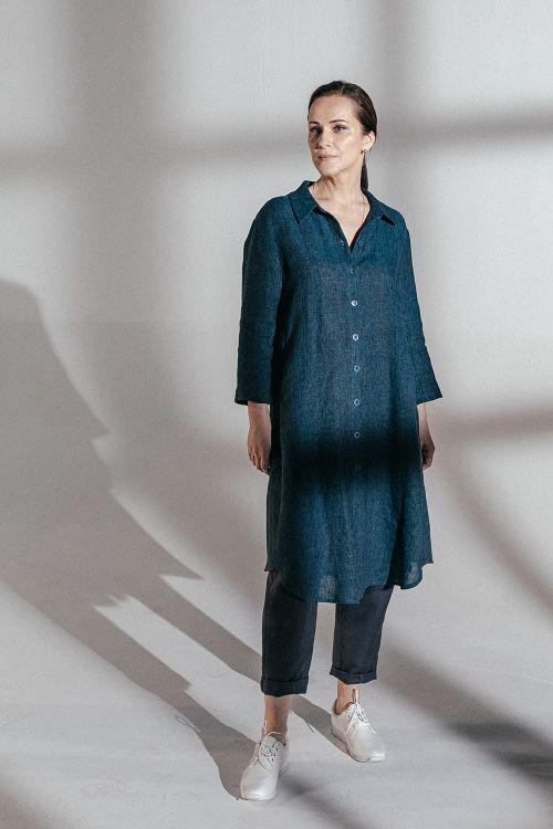 Блуза Рубашка удлиненная, лен