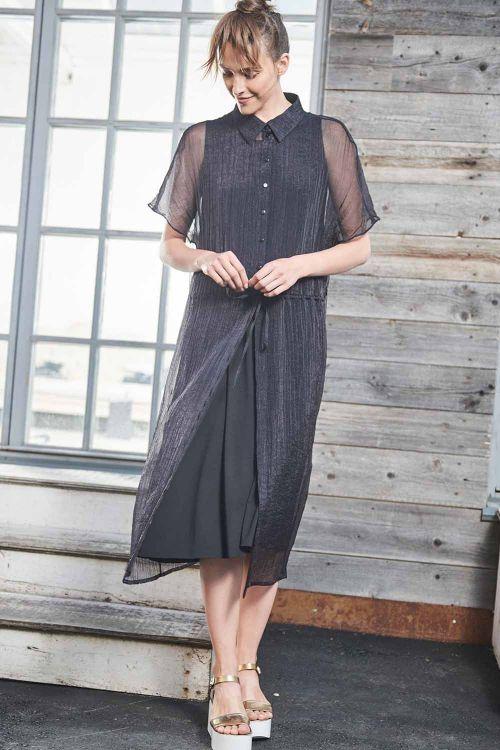 Блуза с кулисой длинная, жатка-вуаль