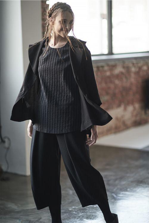Блуза Минимализм, с лацканами, лен